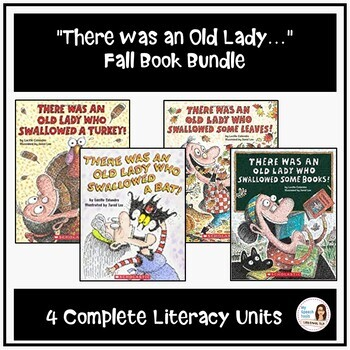 """""""There was an Old Lady"""" Fall Speech Therapy Bundle (4 Complete Literacy Units)"""