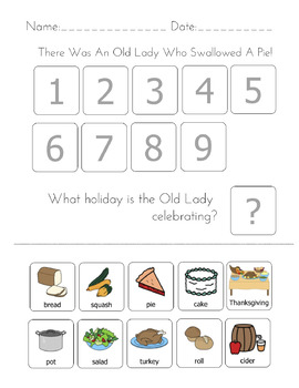 """""""There was an Old Lady Who Swallowed A...Holiday Bundle"""" Sequencing Worksheets"""