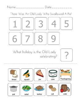 """""""There was an Old Lady Who Swallowed A Pie!"""" Sequencing Worksheet"""