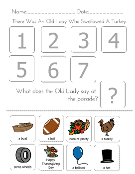 """There was an Old Lady Who Swallowed A Turkey!"" Sequencing Worksheet"