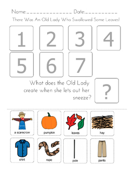 """There was an Old Lady Who Swallowed Some Leaves!"" Sequencing Worksheet"
