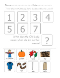 """""""There was an Old Lady Who Swallowed Some Leaves!"""" Sequencing Worksheet"""