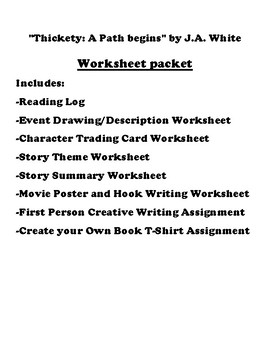 """Thickety: A Path begins"" by J.A. White Worksheet Packet"