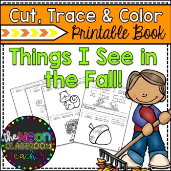"""Things I See in the Fall!"" Cut, Trace, and Color Printable Book!"