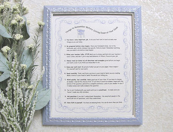 """Things to Remember  Before Sitting Down at your Desk"" framed print (blue)"