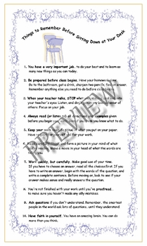 """""""Things to Remember  Before Sitting Down at your Desk"""" Poster Set"""