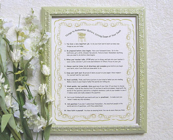 """""""Things to Remember  Before Sitting Down at your Desk"""" framed print (green)"""