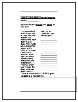 """""""Think Aloud"""" Format~ Reading Comprehesion~Visualizing Text and Inference Packet"""
