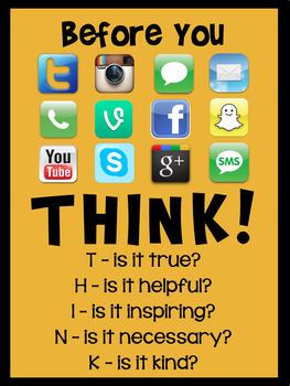 'Think Before You Post' Classroom Poster - Gold