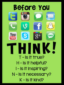 'Think Before You Post' Classroom Poster - Lime Green