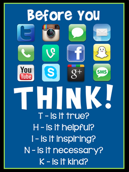 'Think Before You Post' Classroom Poster - Navy