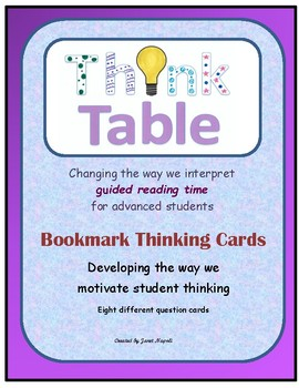 """Think Table"" Bookmark Thinking Cards"