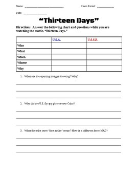 """Thirteen Days"" Movie Worksheet"