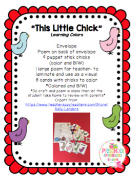 """""""This Little Chick"""" Learning Colors"""