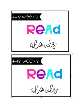 """""""This Weeks Read Aloud Books"""" Label"""