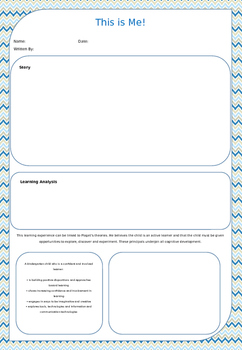 'This is Me!' Activity and Learning Story Template