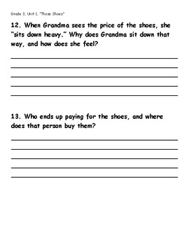 """""""Those Shoes"""" Reading Comprehension Questions"""