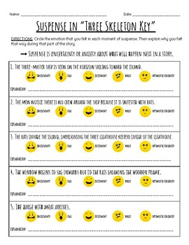 """Three Skeleton Key"" Suspense Worksheet Using Emojis"