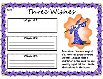Three Wishes Character Traits, Motivations, and Feelings Organizer