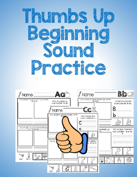 """""""Thumbs Up"""" Beginning Sounds Practice B&W"""