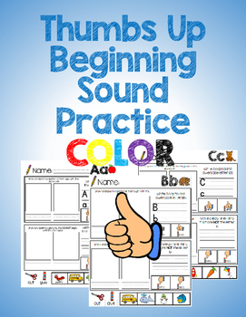 """Thumbs Up"" Beginning Sounds Practice *Color Printables*"