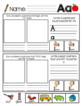 """""""Thumbs Up"""" Beginning Sounds Practice Color and B&W (BUNDLE)"""