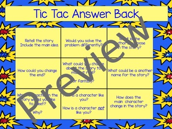 """Tic Tac Answer Back"" Comprehension Differentiated Question Game"