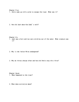 """""""Tigers at Twilight"""" Comprehension Questions"""