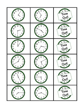 """""""Time Out!"""" 5-Minute Intervals 2nd Grade Common Core Game Packet"""