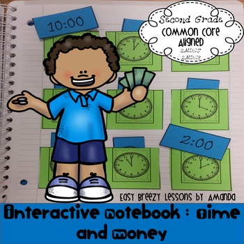 Time and Money Interactive Notebook Second Grade (No Prep)