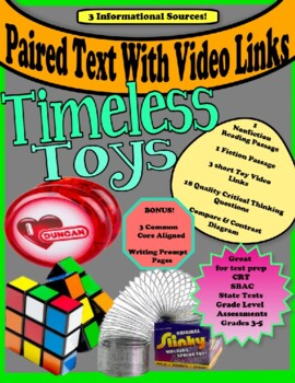 """Paired Text  """"Timeless Toys""""  Close Reading  SBAC  Test Prep"""