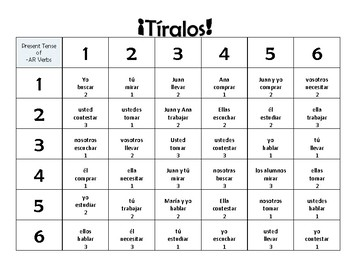 ¡Tiralos! Así Se Dice Chapter 3 Regular -AR Verb Practice