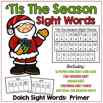 'Tis The Season Sight Words - Primer Dolch Words -  Great for Christmas!