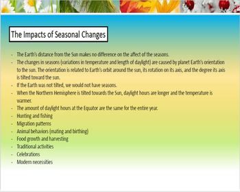 'Tis the Reasons for the Seasons: Exploring Changes in Seasons