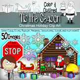 Santa and Friends - Christmas Holiday Clipart - 50 Piece S