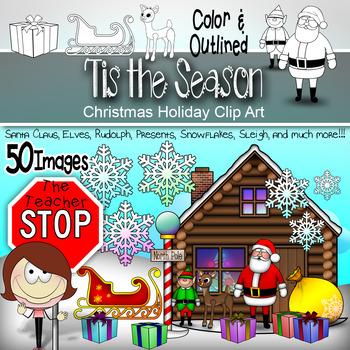 Santa and Friends - Santa, Rudolph, Snow, Sleigh - 50 Piec