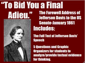 Close Reading Jefferson Davis Address- Primary Source Midd