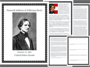 Close Reading Jefferson Davis Address- Primary Source Middle & High School