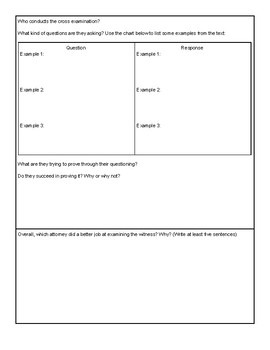 """To Kill a Mockingbird"" Witness Examination Worksheet"