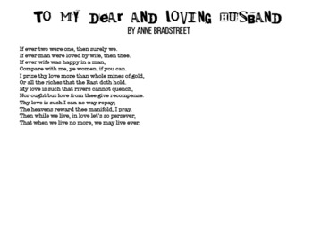 """""""To My Dear and Loving Husband"""" by Anne Bradstreet"""