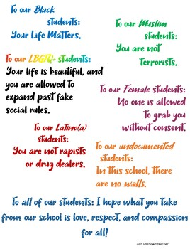 """""""To Our Students"""" poster"""