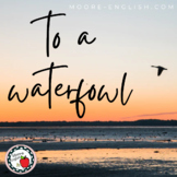 """To a Waterfowl"" Analysis Questions, Graphic Organizer, Wr"