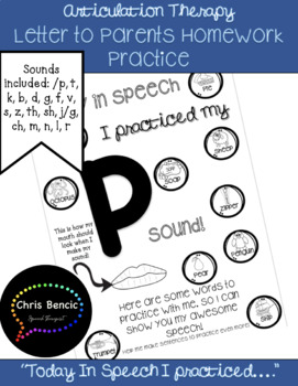 """Today In Speech I Practiced"": Articulation Therapy Homework Assignment"