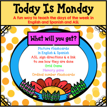 """TODAY IS MONDAY"": learning the days of the week in Spanish, English & ASL"