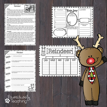 Reindeer Reading Passage Nonfiction Text & Questions