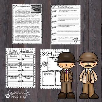 Wright Brothers Reading Passage Nonfiction Text & Questions