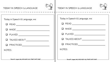 """Today in Speech"" Notes - FREEBIE - Editable"