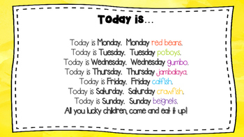 """Today is Monday in Louisiana"" pocket chart visuals"