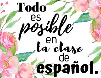 """""""Todo es posible en la clase de español"""" Sign/Decoration for Classroom"""