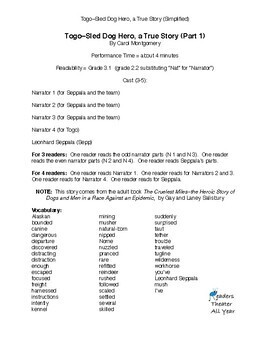 "Winter Readers Theater ""Togo–Alaskan Sled Dog Hero"" Grades 2-5"